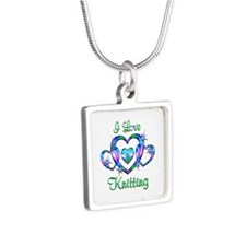 I Love Knitting Silver Square Necklace