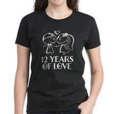 12th Anniversary chalk couple Tee