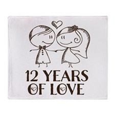 12th Anniversary chalk couple Throw Blanket
