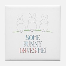 Some Bunny Loves Me Tile Coaster