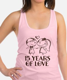 15th Anniversary chalk couple Racerback Tank Top
