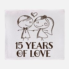 15th Anniversary chalk couple Throw Blanket