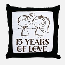15th Wedding Anniversary Throw Pillow