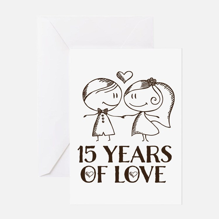 15th Anniversary chalk couple Greeting Card
