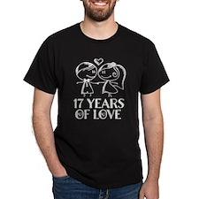 17th Anniversary chalk couple T-Shirt