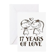 17th Anniversary chalk couple Greeting Card