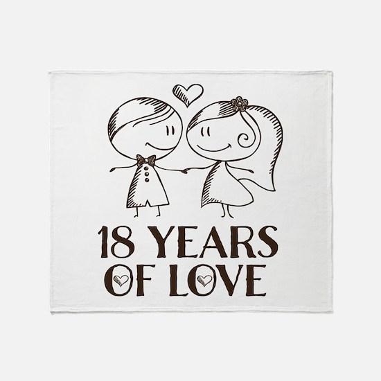 18th Anniversary chalk couple Throw Blanket