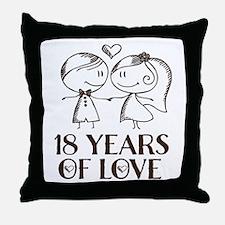 18th Anniversary chalk couple Throw Pillow