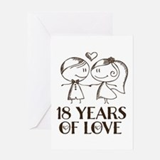 18th Anniversary chalk couple Greeting Card
