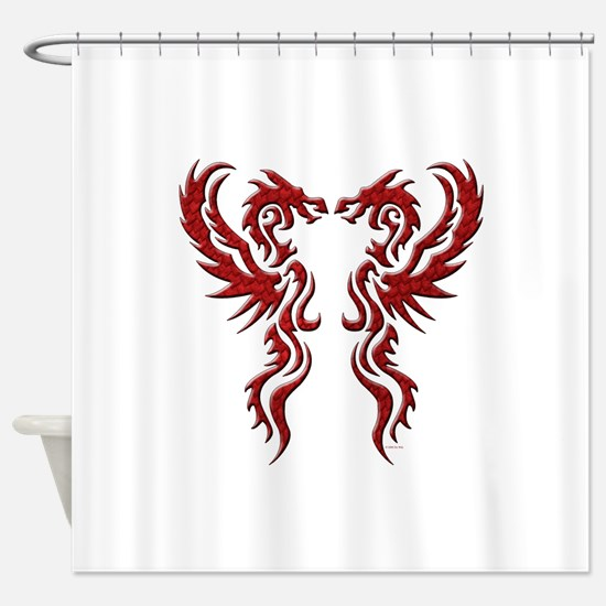 twin dragons (t).png Shower Curtain