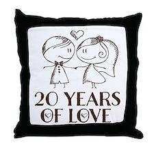 20th Anniversary chalk couple Throw Pillow