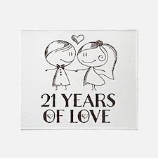 21st Anniversary chalk couple Throw Blanket