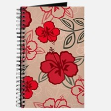 Hawaiian Hibiscus Pattern Red Journal