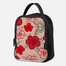 Hawaiian Hibiscus Pattern Red Neoprene Lunch Bag