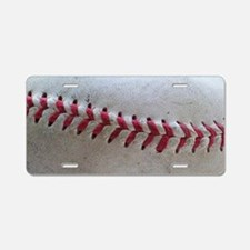 Baseball Stitches Aluminum License Plate
