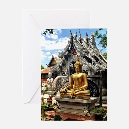 Golden Buddha at Silver Temple Greeting Cards