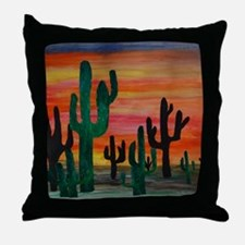 Cactus desert sunset Throw Pillow