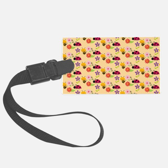Pretty Flowers Bees and Ladybug Luggage Tag
