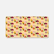 Pretty Flowers Bees and Lad Aluminum License Plate