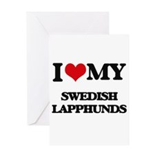 I love my Swedish Lapphunds Greeting Cards