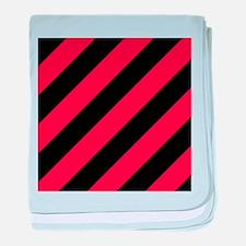 hot pink black diagonal stripes baby blanket