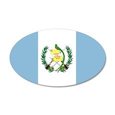 Guatemalan flag 35x21 Oval Wall Decal