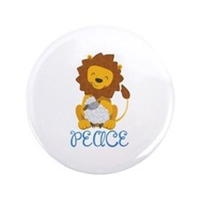 """LION AND LAMB PEACE 3.5"""" Button"""