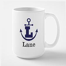 Personalized Anchor Monogram L Mugs
