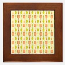 Retro Kitchen Cooking Utensils Framed Tile