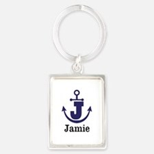 Personalized Anchor Monogram J Keychains