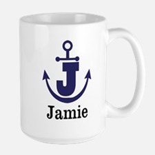 Personalized Anchor Monogram J Mugs
