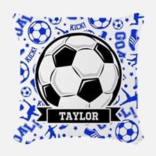 Blue Soccer Woven Throw Pillow