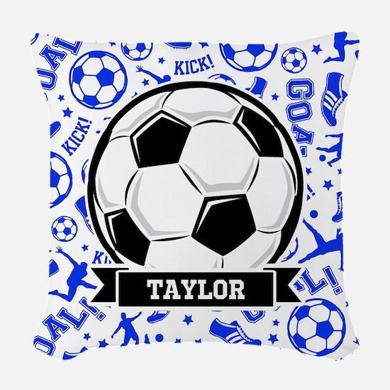 Blue Soccer Woven Throw Pillow