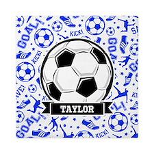 Blue Soccer Queen Duvet