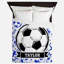 Blue Soccer Queen Duvet
