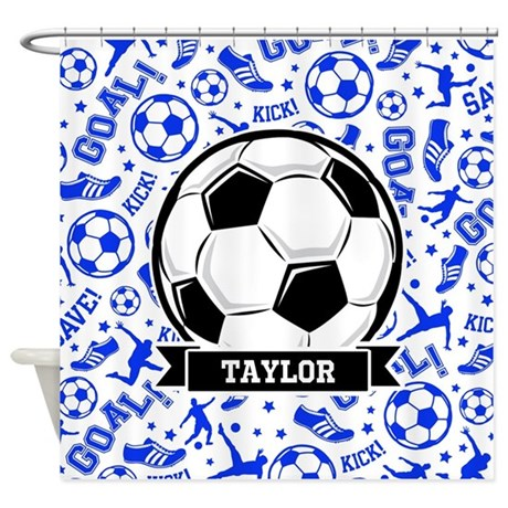 Blue Soccer Shower Curtain