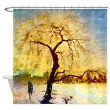 Walk under the willow Shower Curtain
