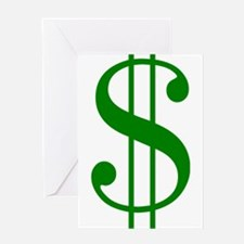 $ green dollar sign Greeting Cards