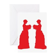 red victorian brides Greeting Cards