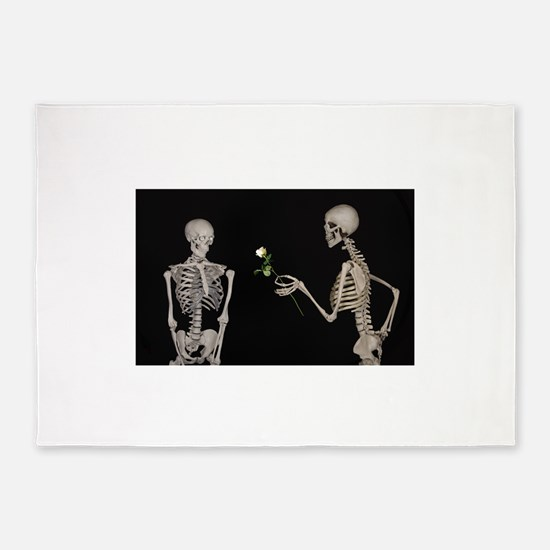 goth valentines day skeletons 5'x7'Area Rug