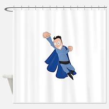 funny super hero Shower Curtain