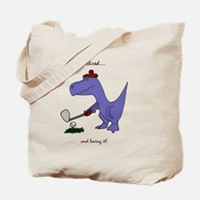 Retired Golfer Dinosaur Tote Bag