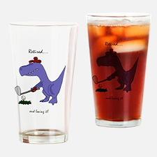 Retired Golfer Dinosaur Drinking Glass