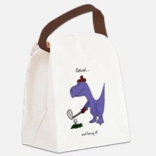 Retired Golfer Dinosaur Canvas Lunch Bag