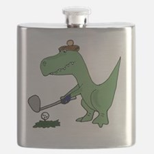 T-Rex Dinosaur Golfer Flask