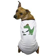 T-Rex Dinosaur Golfer Dog T-Shirt