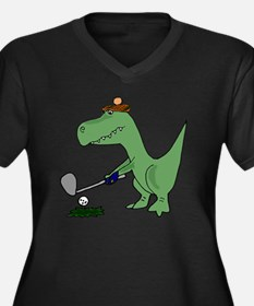 T-Rex Dinosa Women's Plus Size V-Neck Dark T-Shirt