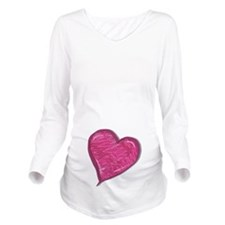 Pink Scribble Heart Long Sleeve Maternity T-Shirt