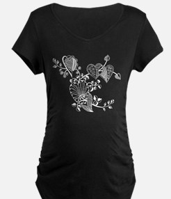 Floral Hearts Maternity T-Shirt