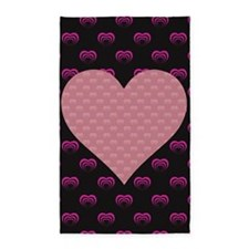Black and Pink Hearts Area Rug